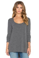 Saint Grace Brit Side Button Long Sleeve Tee Charcoal