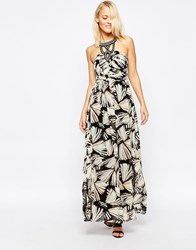 B.Young Printed Maxi Dress With Embellished Neckline Black