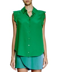 Stella Mccartney Ruffle Sleeve Silk Blouse Green