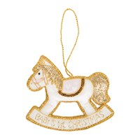 Tinker Tailor Baby's First Christmas Heart Rocking Horse Tree Decoration Pink