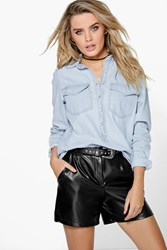 Boohoo Half Open Popper Front Oversized Denim Shirt Blue