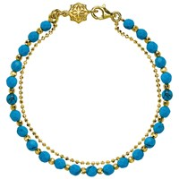 Dower And Hall 18Ct Gold Vermeil Beaded Friendship Bracelet Gold Turquoise