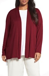 Eileen Fisher Plus Size Women's Tencel Lyocell Blend Shawl Collar Cardigan China Red