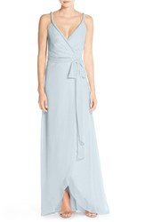 Women's Ceremony By Joanna August 'Parker' Twist Strap Chiffon Wrap Gown Into The Mystic