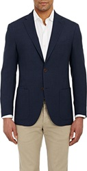 Luciano Barbera Textured Two Button Sportcoat Blue Size Extra Large