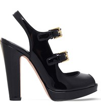 Alexander Mcqueen Double Buckle Patent Leather Heeled Sandals Black