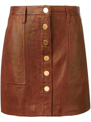 Michael Michael Kors Buttoned Leather Skirt Brown