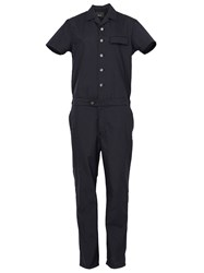08Sircus Buttoned Short Sleeve Jumpsuit Blue