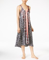 Oscar De La Renta Border Print Nightgown Black Print