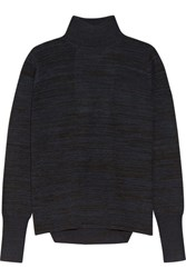 Dion Lee Open Back Melange Merino Wool Sweater Midnight Blue