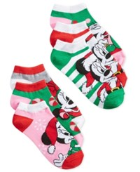 Disney Women's 6 Pk. Holiday Mickey And Minnie Socks Red