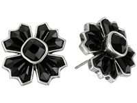 Marc Jacobs Jet Night Cross Studs Earrings Jet Antique Silver