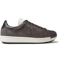 Moncler Jacohim Rubber Trimmed Suede And Shearling Sneakers Anthracite