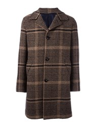 Massimo Piombo Mp Textured Checked Coat Brown