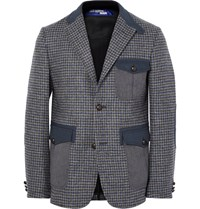 Junya Watanabe Grey Lim Fit Twill Trimmed Houndtooth Wool Blazer Gray