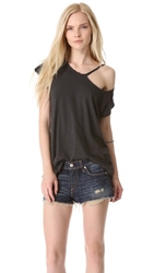 Lna Ripped Neck Tee Black