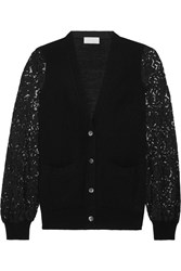 Clu Guipure Lace Paneled Knitted Cardigan Black