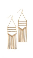 Rebecca Minkoff Drama Pave Fringe Chandelier Earrings Gold Crystal