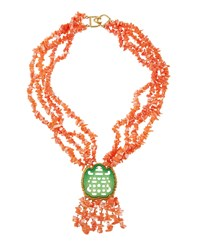 Kenneth Jay Lane Multi Strand Coral Beaded Statement Necklace Pink Coral
