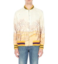 Gucci Castle Scene Silk Satin Bomber Jacket Yellow