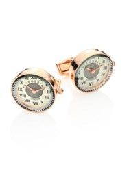 Tateossian Vintage Watch Mechanical Rose Goldplated Stainless Steel Cufflinks