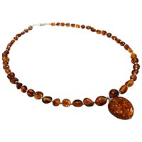 Goldmajor Amber And Silver Large Pendant Collar Necklace
