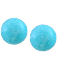 Effy Collection Effy Amazonite Round Stud Earrings 10Mm In 14K Gold Blue