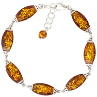 Be Jewelled Cognac Sterling Silver Bracelet Amber