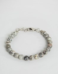 Seven London Marble Effect Beaded Bracelet In Grey White Grey
