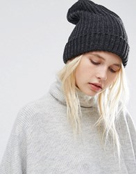 Pieces Fisherman Knit Beanie In Grey Dark Grey Melange