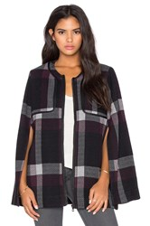 525 America Plaid Poncho Black