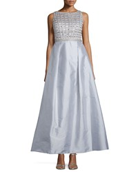 Aidan Mattox Sleeveless Embellished Bodice Gown Silver