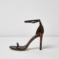 River Island Womens Bronze Scale Barely There Heeled Sandals