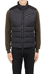 Ralph Lauren Black Label Suede Shoulder Puffer Vest Black