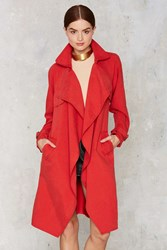 Nasty Gal Trench Warmer Belted Coat Red