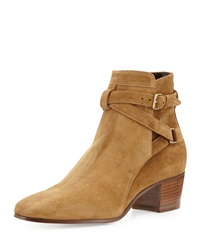 Saint Laurent Low Heel Suede Ankle Strap Bootie