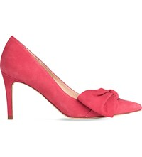 Lk Bennett Caitlyn Bow Detail Suede Courts Red Cherry