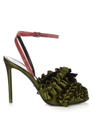 Marco De Vincenzo Ruffled Satin High Heel Sandals Green Multi