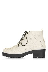 Topshop Kiwi Flower Boot Off White