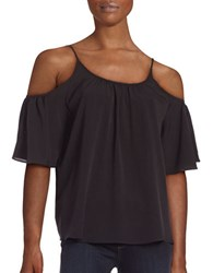 French Connection Short Sleeved Cold Shoulder Top Black