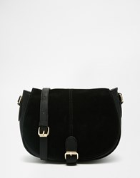 Oasis Premium Real Leather Saddle Bag Black