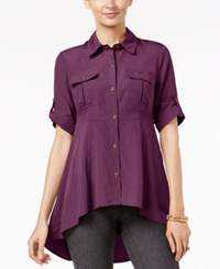 Eci Utility Swing High Low Hem Shirt Amarnath Purple