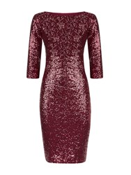 Hotsquash Long Sleeved Dress With Sequin Trim Wine