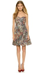 Marchesa Notte Strapless Multicolored Sequined Dress Forest