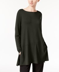Eileen Fisher Boat Neck Tunic With Seam Detail A Macy's Exclusive Charcoal