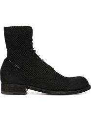 Officine Creative Perforated Lace Up Boots Black
