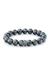 Room 101 Sterling Silver Logo Charm Faceted Hematite Bead Stretch Bracelet Metallic