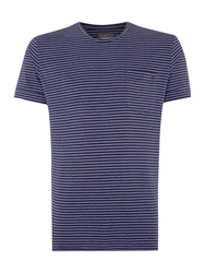 Peter Werth Lazo Stripe Crew Neck Slim Fit T Shirt French Navy