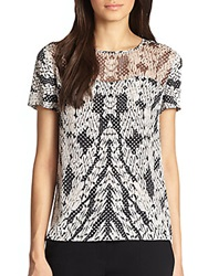 Diane Von Furstenberg Angela Mixed Media Silk T Shirt Black White