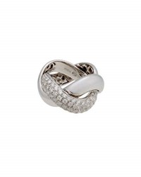Poiray 18K White Gold Braided Diamond Band Ring Size 4